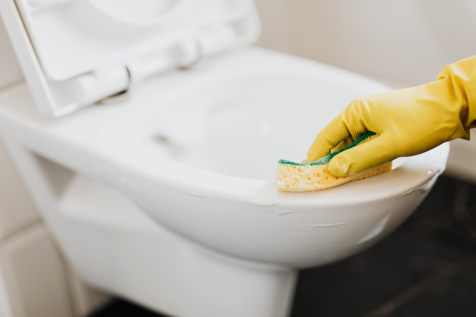 Rubber gloved hand cleaning a toilet with a sponge.