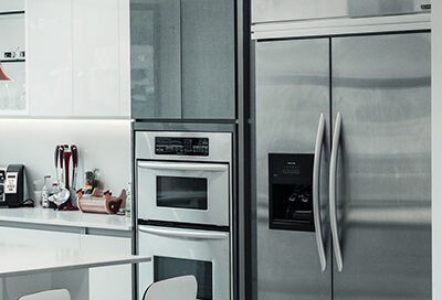 A kitchen with stainless steel appliances.